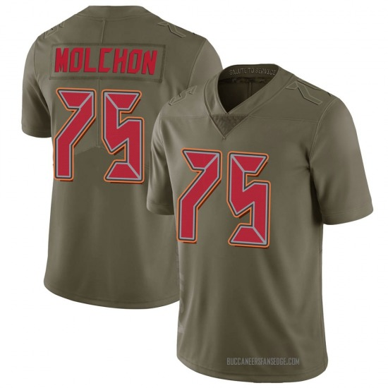 John Molchon Tampa Bay Buccaneers No.75 Limited 2017 Salute to Service Jersey - Green